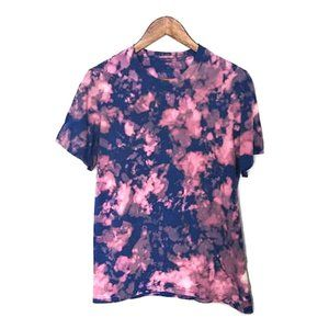 Upcycled Bleached Tie Dye Pink Blue Tee Shirt M